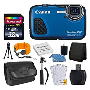 Canon PowerShot D30 12.1MP Waterproof Digital Camera, Blue + Extra Battery With 32GB SD Memory Card Accessory Bundle