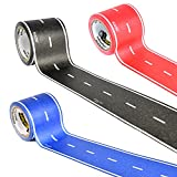 PlayTape Classic Road 3 Pack - Instantly Create your Own Roads Anytime, Anywhere - For Kids Who Love Cars & Trains - Perfect for Birthday Gifts & Endless Fun (Red, Blue & Black Road 30'x2