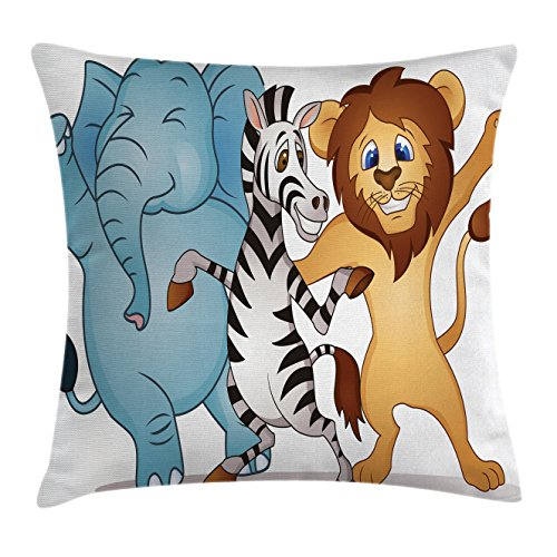 Ambesonne Animal Decor Throw Pillow Cushion Cover by, Cute Dancing African Zebra Lion Elephant Party in Savannah Safari Cartoon Print, Decorative Square Accent Pillow Case, 20 X 20 Inches, Multi