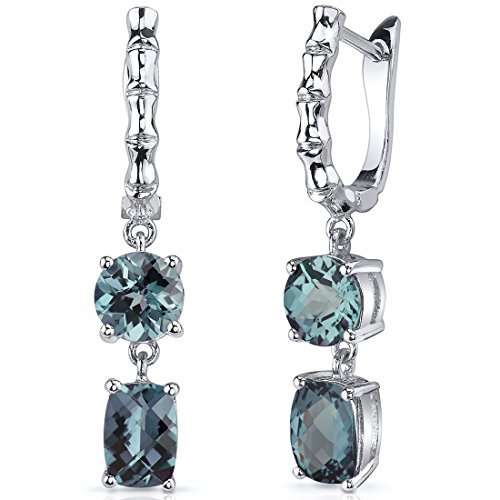 Simulated Alexandrite French Clip Earrings Sterling Silver 4.50 Carats by Peora
