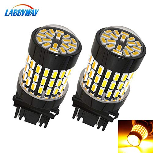 (LABBYWAY 2 Pcs Super Bright 900 Lumens 3014 78-EX Chipsets,3157 3156 3056 3057LED Used For Use For Turn Signal, Corner Lights, Blinker Lights etc,Amber)