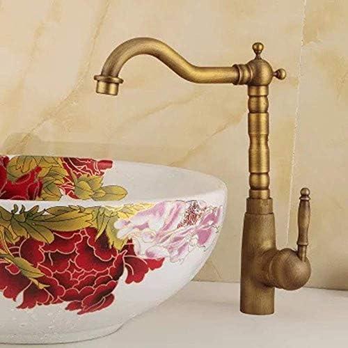 HXC-HXC すべての銅アンティーク流域の蛇口シングルハンドルキッチンレトロ蛇口シンクの回転蛇口温水と冷水(カラー:真鍮) 蛇口
