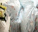 Lotus Karen 100%Cotton Blue Pastoral Flowers 4PC Floral Bed Sheet Set Ruffles Korean Bedding Set With Romantic Love Letters Patterns For Wedding Bedding King,1Duvet Cover,1Bedskirt,2Pillowcases