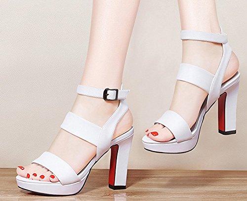 Moda Mujer verano sandalias confortables tacones altos,36 gris claro White