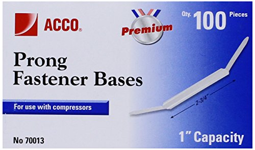 Acco Premium Prong Bases for Standard 2-Hole Punch, 1-Inch Capacity,