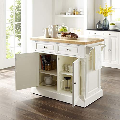 Crosley Furniture Kitchen Island with Butcher Block Top - White by Crosley Furniture (Image #5)