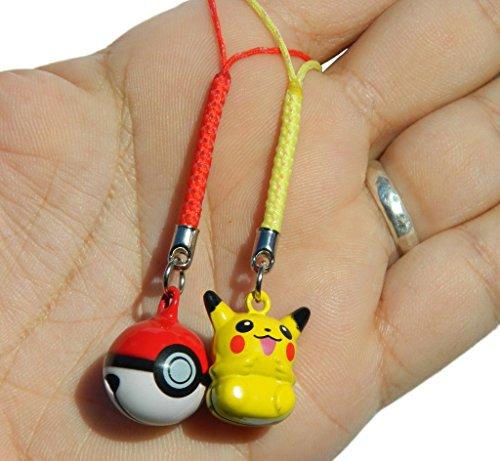 2pc Pikachu and Red PokeBall Charming Strap JINGLE BELLS Dangle