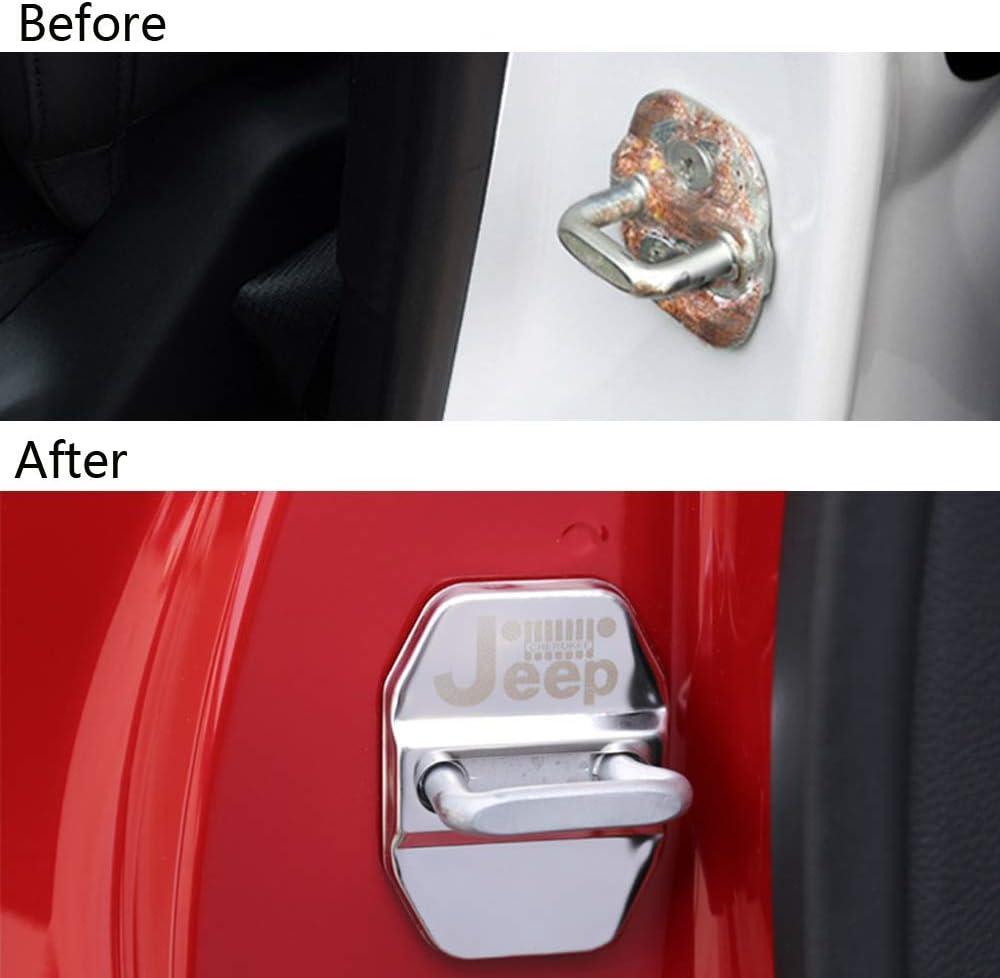 Renegade Grand Cherokee Patriot ,Plata LAUTO Protector de Cubierta de pestillos de Cerradura de Puerta de Coche de Acero Inoxidable de 4 Piezas para Jeep Cherokee Wrangler Compass 2009-2019