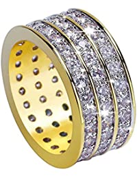 JINAO 18K Gold 10mm 3 Rows ETERNITY Wedding Engagement Band MICROPAVE CZ Iced Out Mens Ring