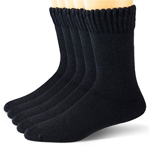 EBMORE Mens Wool Socks Heavy Thick Socks Thermal Fuzzy Warm Comfort Crew Winter Socks 5 Pack (Black)