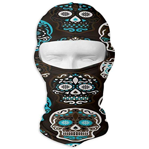 Windproof Balaclava Hood, Sugar Skull Cold Weather Face Mask for Hunting Cycling White ()