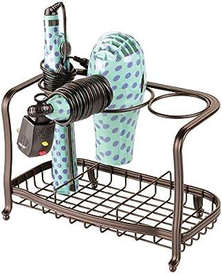 secador Soporte para Plancha de Pelo mDesign Soporte para secador de Pelo de pie y sin Taladro Cesta de Rejilla de Metal para el ba/ño Bronce cepillos y Otros Productos de peluquer/ía