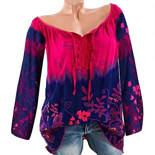 Shirt Longues V Vif en Manches Tops Rose Chemisier Chic Femme Size Vrac Bandage T Col Plus Imprim Dentelle Bringbring IwUqExCf