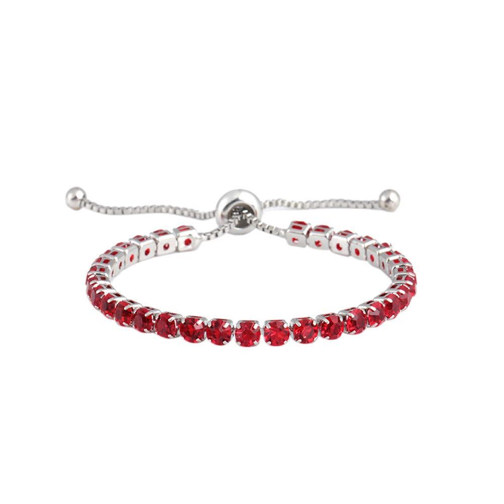 Women Simple Style Crystal Push Pull Bracelet with Adjustable Charm Bracelets Gift for Girls Mens Teens Student Best Friend Forever(I)