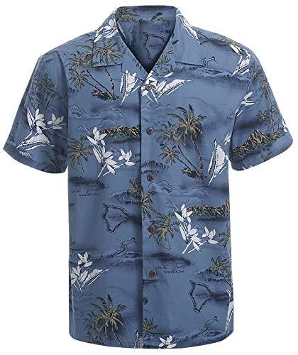 Hawaiian Shirts for Men Short Sleeve Regular Fit Mens Floral Shirts (YH1907,XL)