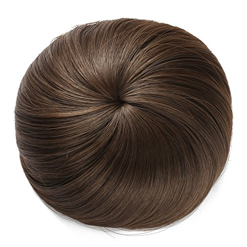 OneDor Synthetic Hair Bun Extension Donut Chignon Hairpiece Wig (8A-Light Chestnut Brown) (Hair Extension Wig)