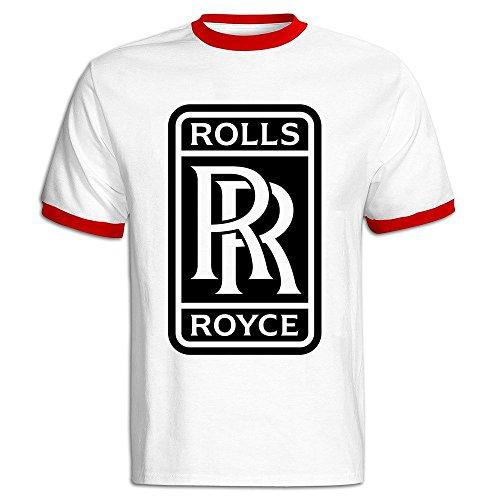 (Men's Rolls Royce Logo Baseball T Shirt Red)