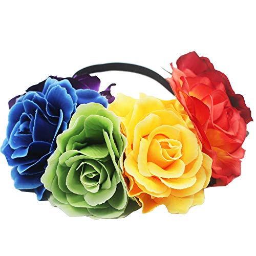 Large Flower Frida Kahlo Mexican Flower Large Crown Headband Party Costume Dia de Los Muertos Day of The Dead Headpiece (rainbow)]()