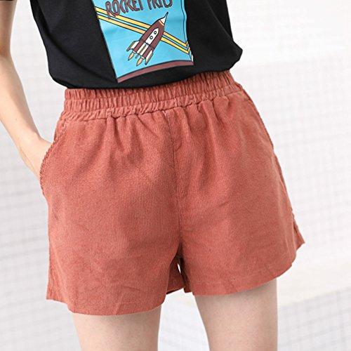 Strappati Estate Alta Marrone Vita Donna Elastica Shorts Loose A Yiliandad Pantaloncini Pantaloni wHaCqxq