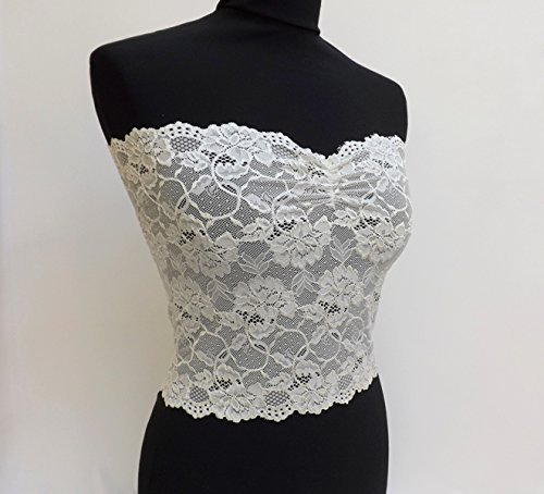 Ivory Lace Bandeau Top. Ivory Lace Strapless. Floral Lace Tube Top. Offwhite Lingerie. Lace Lingerie. Gift For Her.