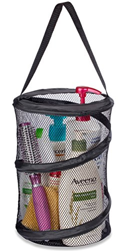 """Dorm Shower Caddy - 8"""" X 12"""" - Carry Your Personal Care Items Right Into the Shower. Great for College Dorm Life, Gyms, Camping and Travel. Folds Flat for Easy Storage When Not Needed. (Black)"""