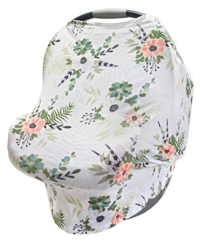 LulaBaby - 360° 4-in-1 Stretchy Baby Nursing Cover, Car Seat Canopy, and Shopping Cart Cover (WINTER FLORAL) (Floral Toddler Seat Cover Car)
