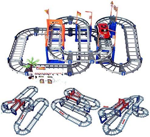 Noetoy Race Tracks for Boys DIY Flexible Variety Train Rail Car SetArch Bridge & Toy Jeep3 4 5 6 Year & Up Old Boys Girls Birthday Gift (Gray)