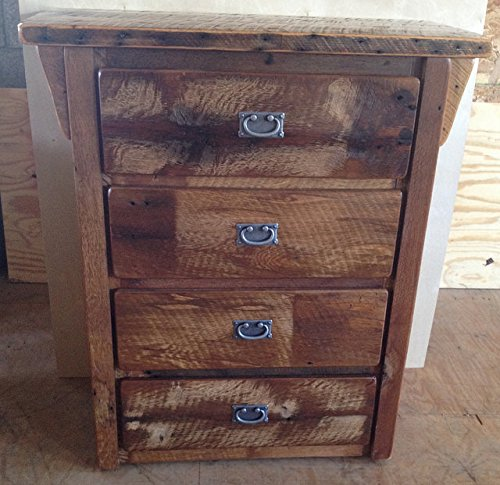 Rustic Natural Reclaimed Barn Wood Chest Dresser - 4 DrawersClear Varnish Amish Made in USA