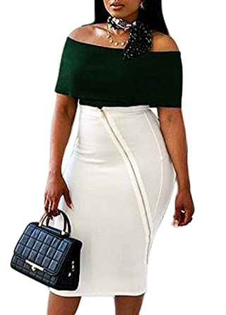 6e21549c124307 Amazon.com  Romacci Sexy Women Two-Piece Set Off-The-Shoulder Top Short Sleeve  Slim Bodycon Midi Skirt Suits Outfits Green  Clothing