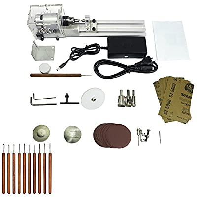 KKmoon Beading Machine Mini DIY Woodworking Lathe Miniature Buddha Pearl Lathe Grinding and Polishing Beads Small Cutting Round 24V DC 80W US Plug