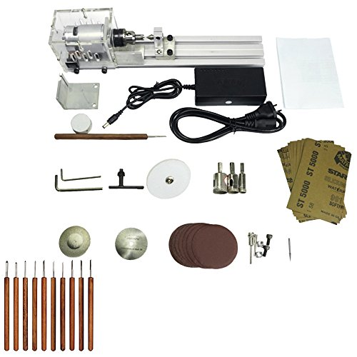 KKmoon Beading Machine Mini DIY Woodworking Lathe Miniature Buddha Pearl Lathe Grinding and Polishing Beads Small Cutting Round 24V DC 80W US Plug (Machine Lathe)