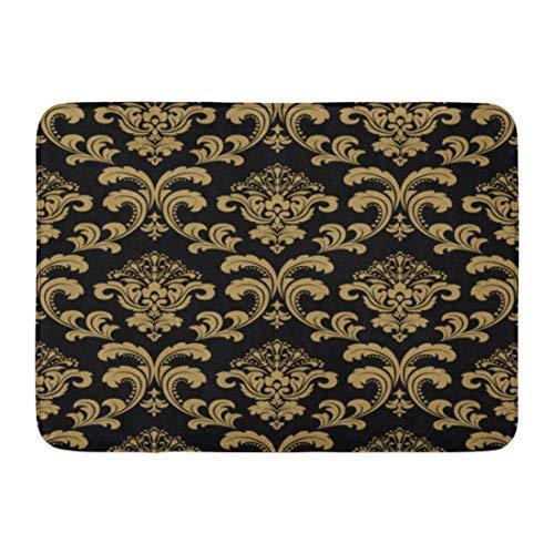 Gold Rectangle Antique Rug (Emvency Doormats Bath Rugs Outdoor/Indoor Door Mat Dark Floral Pattern Baroque Damask Gold and Black Venetian Vintage Antique Bathroom Decor Rug 16