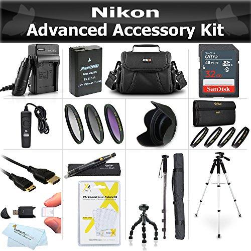 32GB Accessories Bundle Kit For Nikon Df, D5500 D5300 D3300