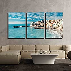 "wall26 - 3 Piece Canvas Wall Art - View of Bogliasco. Bogliasco is a Ancient Fishing Village in Italy - Modern Home Decor Stretched and Framed Ready to Hang - 16""x24""x3 Panels"