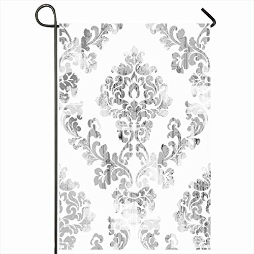 Ahawoso Outdoor Garden Flag 12x18 Inches Damask Carpet Gray Ads Rococo Pattern Floral Abstract Baroque Nature Antique Border Leaf Design White Seasonal Double Sides House Yard Sign