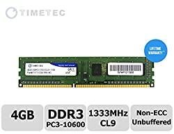 Timetec Hynix IC 4GB DDR3 1333MHz PC3-10600 Non ECC Unbuffered 1.5V CL9 1R8 Single Rank 240 Pin UDIMM Desktop PC Computer Memory Ram Module Upgrade (High Density 4GB)