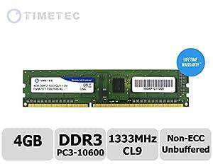 Timetec Hynix IC 4GB DDR3 1333MHz PC3-10600 Non ECC Unbuffered 1.5V CL9 1R8 Single Rank 240 Pin UDIMM Desktop PC Computer Memory Ram Module Upgrade (High Density 4GB)