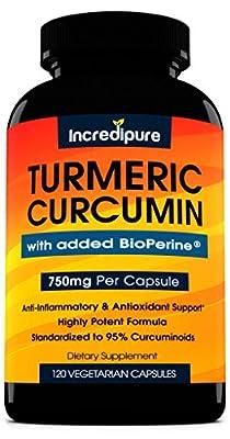 Turmeric Curcumin Supplement w/ BioPerine - 750mg Per Capsule, 120 Veggie Caps