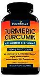 Turmeric Curcumin Supplement w/ BioPerine – 750mg Per Capsule, 120 Veggie Caps by Curcumin Incredipure