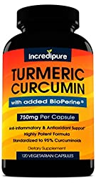 Turmeric Curcumin Supplement w/ BioPerine - 750mg Per Capsule, 120 Veggie Caps by Curcumin Incredipure
