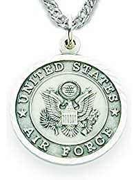 Sterling Silver United States Air Force Medal with Saint Michael Back, 3/4 Inch