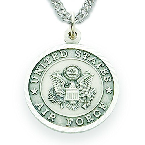 TrueFaithJewelry Sterling Silver United States Air Force Medal with Saint Michael Back, 3/4 Inch