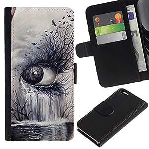 All Phone Most Case / Oferta Especial Cáscara Funda de cuero Monedero Cubierta de proteccion Caso / Wallet Case for Apple Iphone 6 // Nature Art Deep Meaning Cry Sad