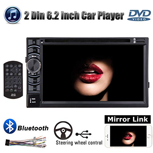 Double 2Din 6.2inch Car Stereo DVD Player with Bluetooth AM FM Radio Mirrorlink USB Subwoofer LCD Touchscreen AUX Input for Ford F-150 XLT Extended Cab Pickup 4-Door 2001 2002 2004 2005 2006 2007