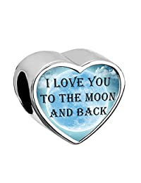 New Heart I Love You To The Moon and Back Charms Moon Jewelry Bead Fit Pandora Bracelets
