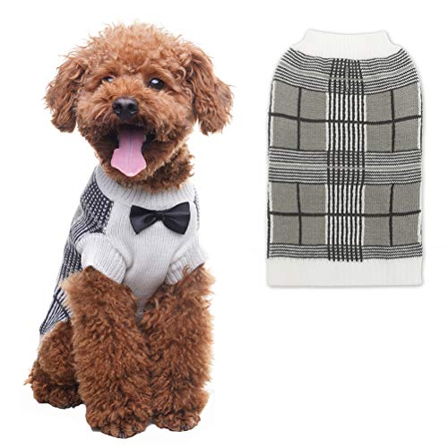 (OFPUPPY Dog Sweater with Bow Tie Gentleman Style Pet Decent Winter Clothes for Both Girl and Boy Puppies)