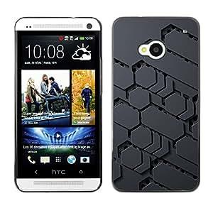 TopCaseStore / la caja del caucho duro de la cubierta de protección de la piel - Sci-Fi Pattern Alien Grey Pc Gamer - HTC One M7