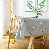 DW&HX Waterproof Vinyl Oilcloth Tablecloths, Rectangle Wipeable Oil-Proof PVC; Heavy Duty Long Table Cover Turquoise Bird-Gray 137x275cm(54x108inch)