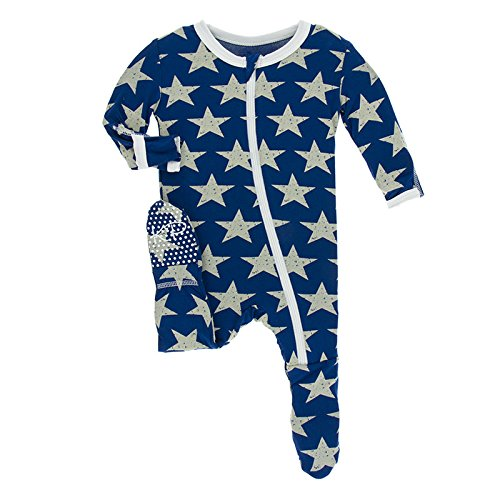 Kickee Pants Print Footie with Zipper - Vintage Stars (6-9M)