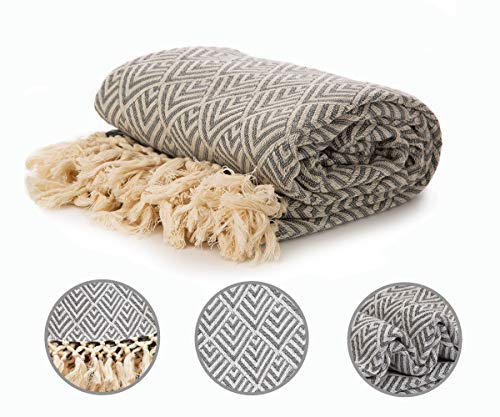 Cotton Diamond Throw - Teal Diamond - Country Blanket - Diamond Weave Cotton Throw - Green Throw Blanket - Throw Blanket Organic Cotton - Organic Cotton Waffle Blanket (Teal, Diamond Throw (50X60)) ()